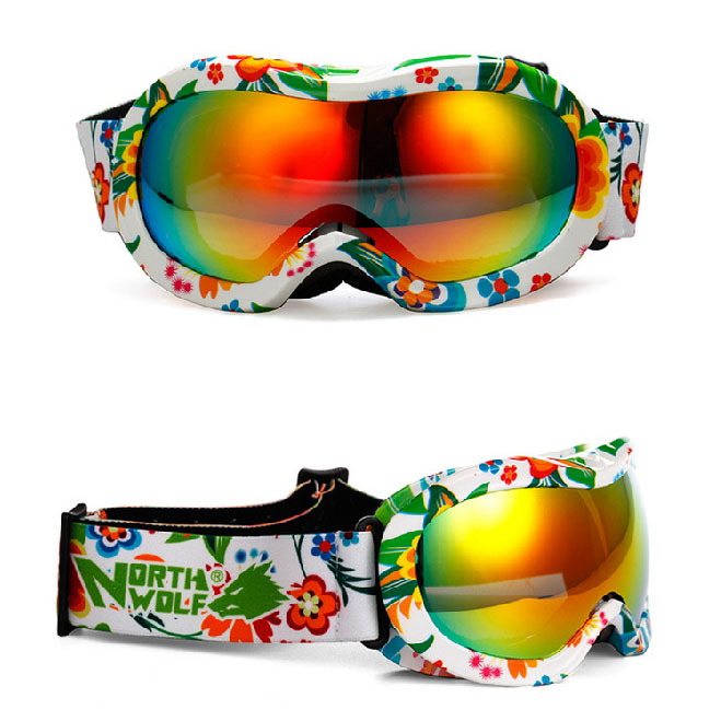 Windproof Glasses floral Anti-Fog children Ski Goggles Women Snow Glasses kids Skiing Eyewear TPU safety Baby Sports Eyewear(China (Mainland))