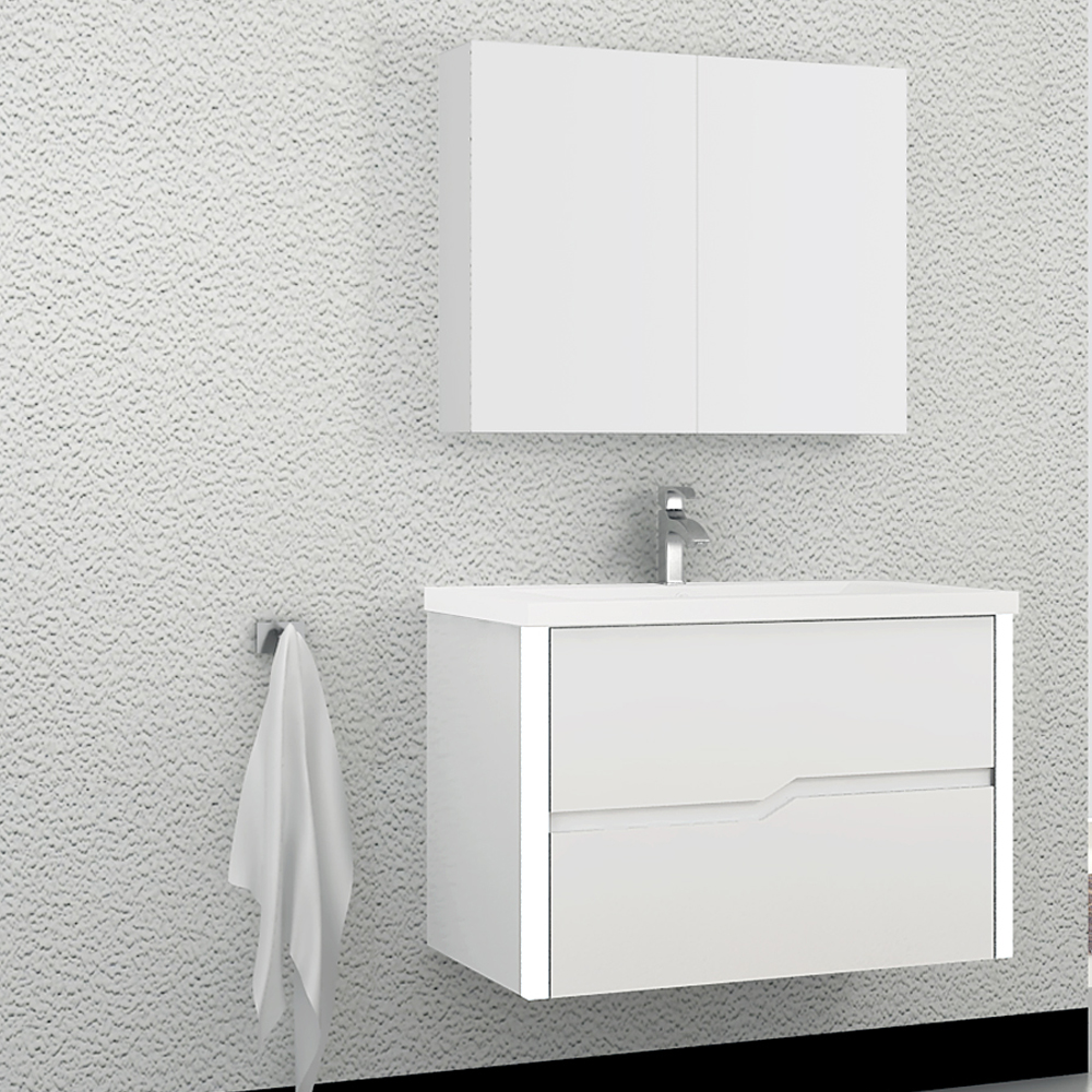 fully assembled wall hung bathroom cabinet with faucet in bathroom
