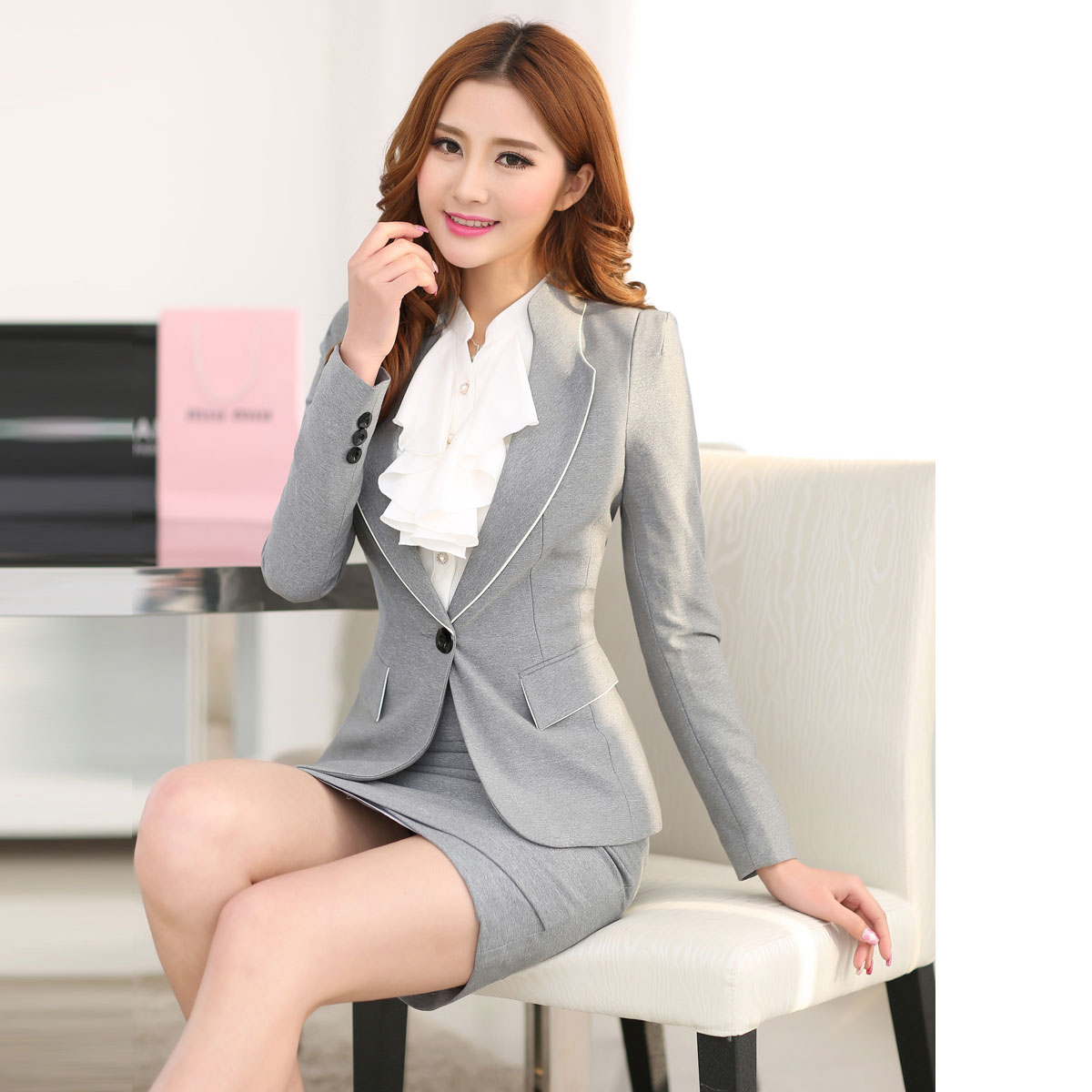 Fantastic New Style 2015 Spring Formal Ladies Skirt Suits Women Work Suits Fashion Skirt And Shirt Sets ...