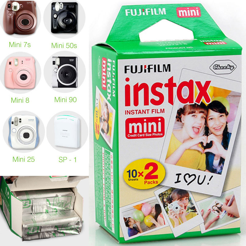 100% Original 20pcs Fujifilm Fuji Instax Mini Instant Film White Edge for 7 7s 8 10 20 25 50s 50i SP1 dw Mini Instant Camera(China (Mainland))