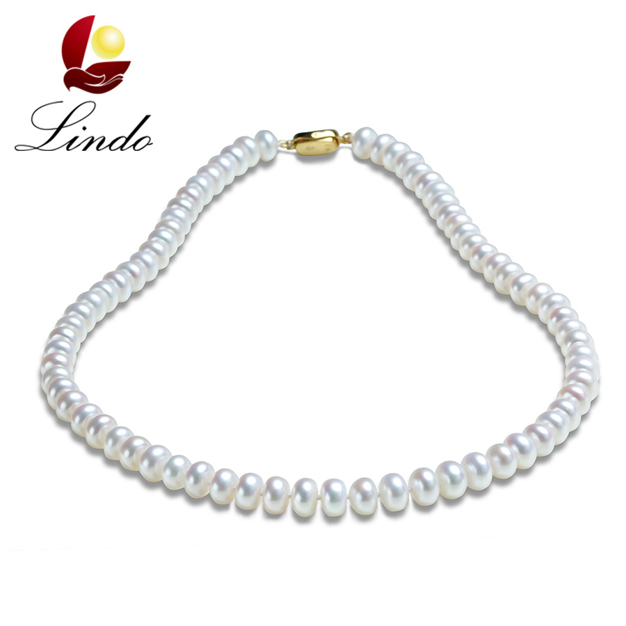 Noble Pearl Necklace Gift For Mother 100% Real Freshwater Pearl Jewelry Bridal Choker Jewelry Wedding Gifts Elegant collares(China (Mainland))