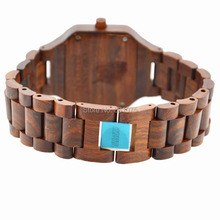 Vintage Style Women Men Watch Red Sandal Wood Wristwatch Japan Import Quartz Movement With Calendar Natural