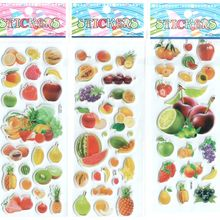 3pcs/lot Baby Girls and Boys Cartoon Fruit Stickers Best Gift for Children Kids Popular Develop intelligence Stickers #ST004(China (Mainland))