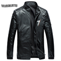 Luxury Winter Chaqueta Piel Vintage Punk Rock Men Clothes Solid Red Thick Mens Leather Jackets And