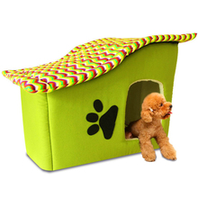 Pets kennel for Small Dog Beds Puppy House For Cat Soft Sponge Dot Kennel Washable Dual Purpose Bed