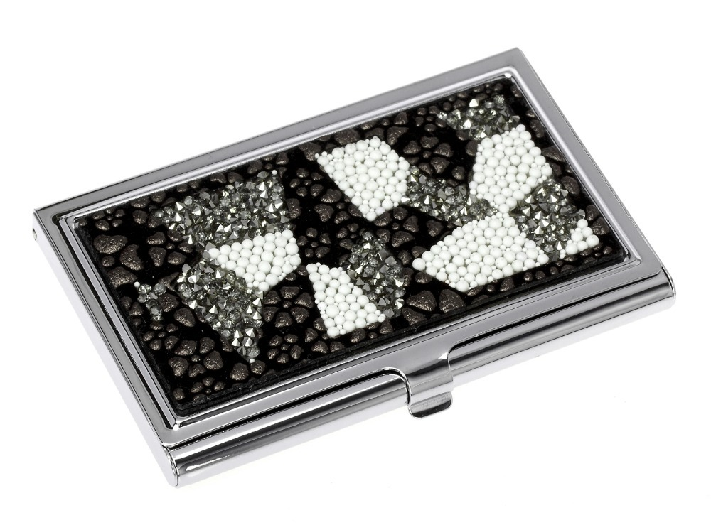 Super Sell Higher Quality Business Cards Holder for Men & Women PU&Crystal Name CardHolder(China (Mainland))