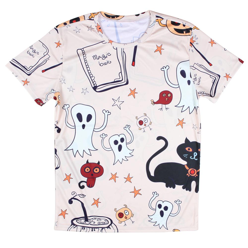 Mens summer novelty ghosts and cats halloween 3d print t shirt short sleeve tshirts allover print tees funny tops full printing(China (Mainland))