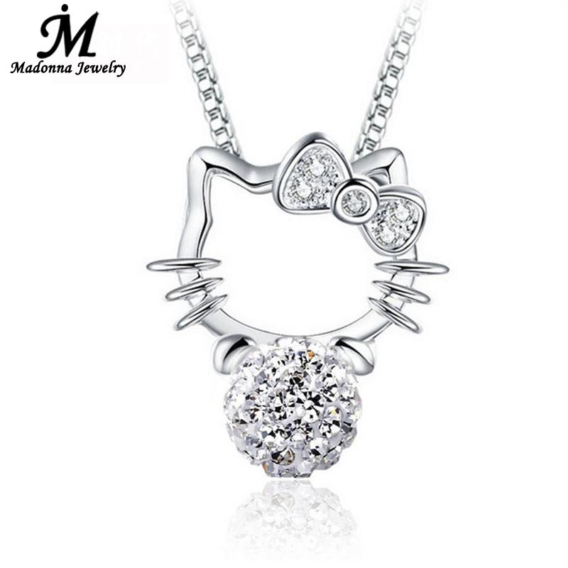 2016 New Fashion Shambhala Rhinestone Pendant Hello Kitty CZ Diamond Silver Plated Crystal necklace pendant Jewelry Women(China (Mainland))