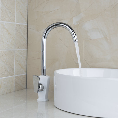Ouboni kitchen faucets torneira white painting swivel - White kitchen sink faucets ...