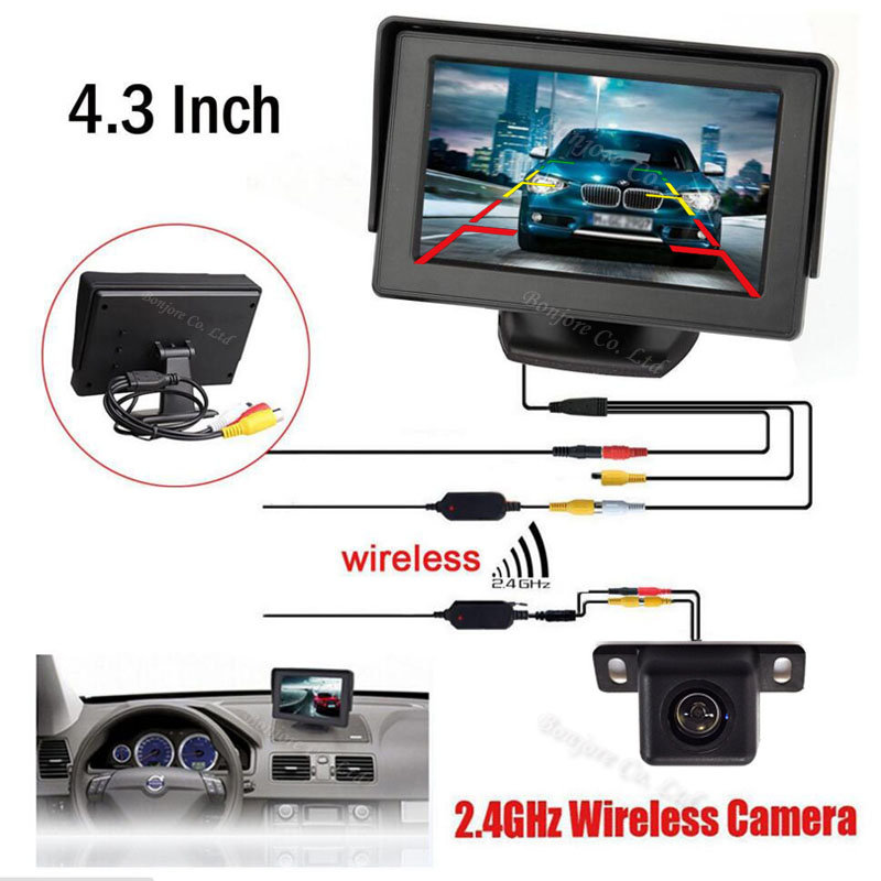 "Hot sale Wireless Car 4.3"" TFT LCD vehicle SCREEN Monitor Display CCD Mini Reversing back up Rearview camera Parking System(China (Mainland))"