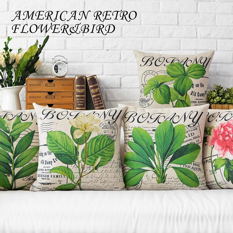 Free Shipping Green leaves Rural Linen Fabric Throw Pillow Hot Sale New Home Fashion Christmas Decor 45cm Bar Sofa Car Cushion