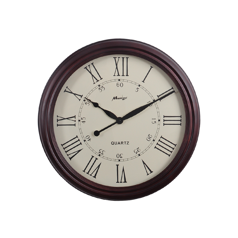 European high grade watch vintage brown wooden wall clocks roman numerals circular home - Large roman numeral wall clocks ...