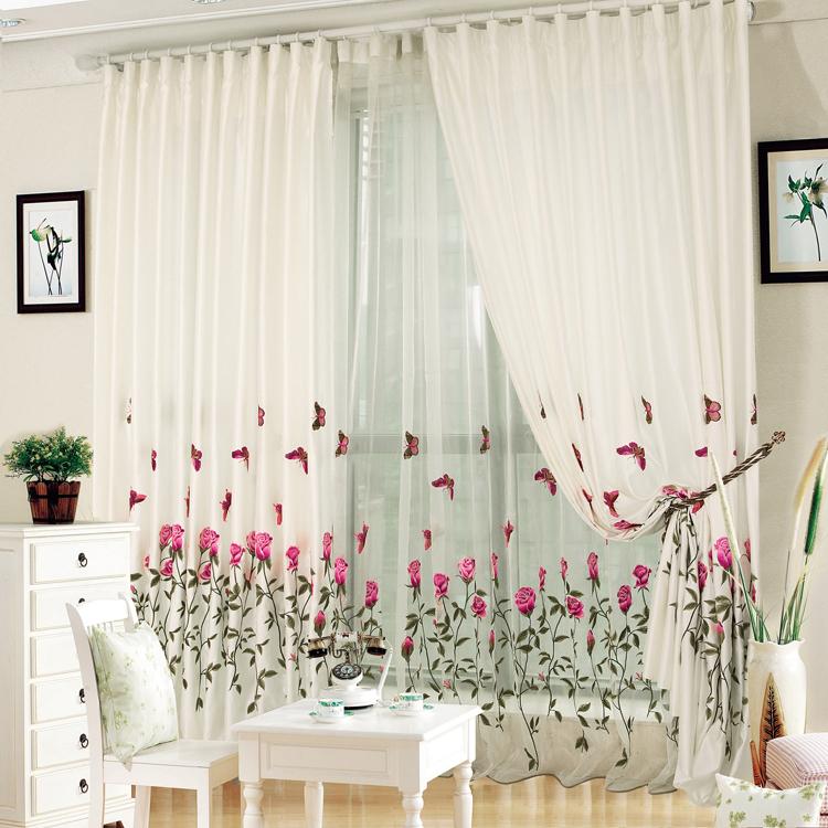 Qualidade bordado bordado sele o da janela cortina de for Cortinas salon rustico