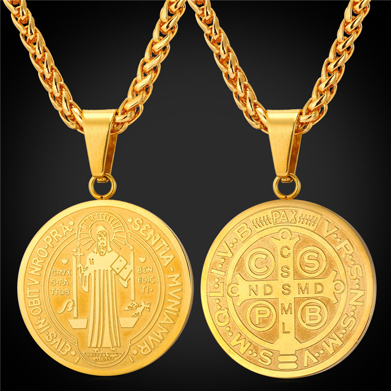 Saint Benedict Medal Pendant Necklace Charms Jewelry Gift Stainless Steel/18K Real Gold Plated Chain Men/Women 2016 New GP1895(China (Mainland))