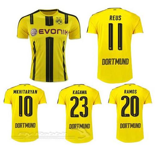 Borussia Dortmund Jerseys 2017 REUS AUBAMEYANG MKHITARYAN WEIGL PULISIC 16 17 Football Shirts Maillot de Foot(China (Mainland))