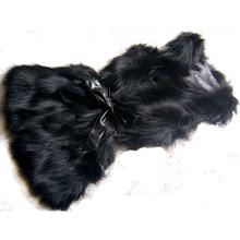 NBV120 2015 New Arrival Women  Real Fur Vest For Autumn Genuine Fur Female Cheap fox fur Gilet  Black Fur Hooded Waistcoat(China (Mainland))