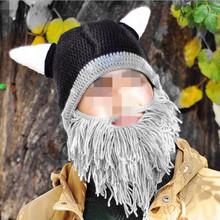 2017 Novelty Unisex Ox Horn Beard Wool Hats Men Women Warm Knitted Wool Face Mask Hats Caps Party Dress Supplies(China (Mainland))