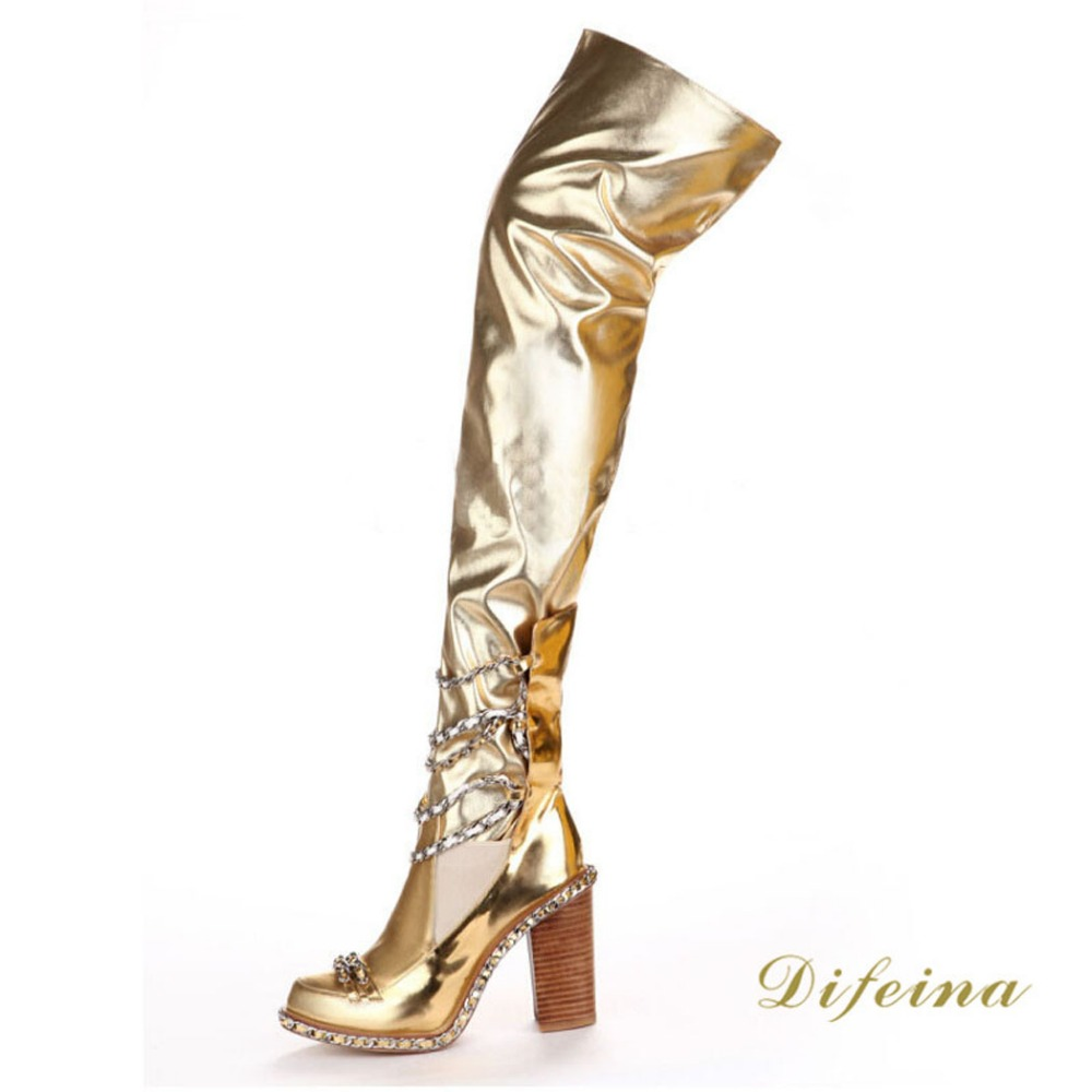 Gold Over The Knee Boots - Boot Hto