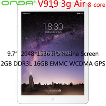 "9.7 "" ONDA V919 3 G aire IPS Retina 2048 * 1536 MTK8392 Octa-Core 2 GB DDR3L mem 16 GB máster erasmus mundus Android 4.4 3 G WCDMA / GSM GPS OTG Bluetooth(China (Mainland))"