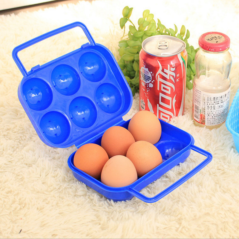 Portable Double Lock Folding Eggs Storage Boxes 6 Eggs Holder Container Bins Plastic Handle Case Outdoor Picnic Use 15.5X15x7cm(China (Mainland))