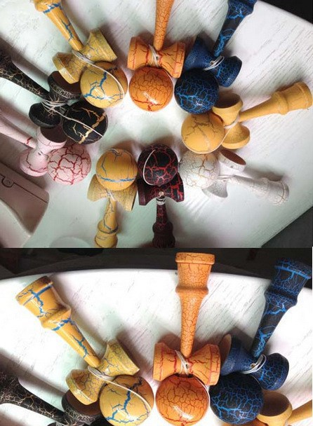 In Stock Crack Paint Kendama Ball Skillful Juggling Game Ball Japanese Traditional Toy Balls Educational Toys Free shipping(China (Mainland))