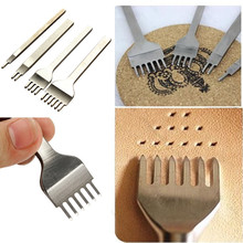 New High Quality One Set of 4pcs Leather Craft Tools Hole Punches Stitching Punch Tool 1/2/4/6 Prong Spacing 4mm