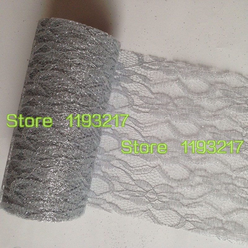 "2Pcs Lace on A Roll Silver 6""X 10Yards Vintage Style Glitter Floral Lace Tulle Spool Trim Craft Wedding Party Decor(China (Mainland))"
