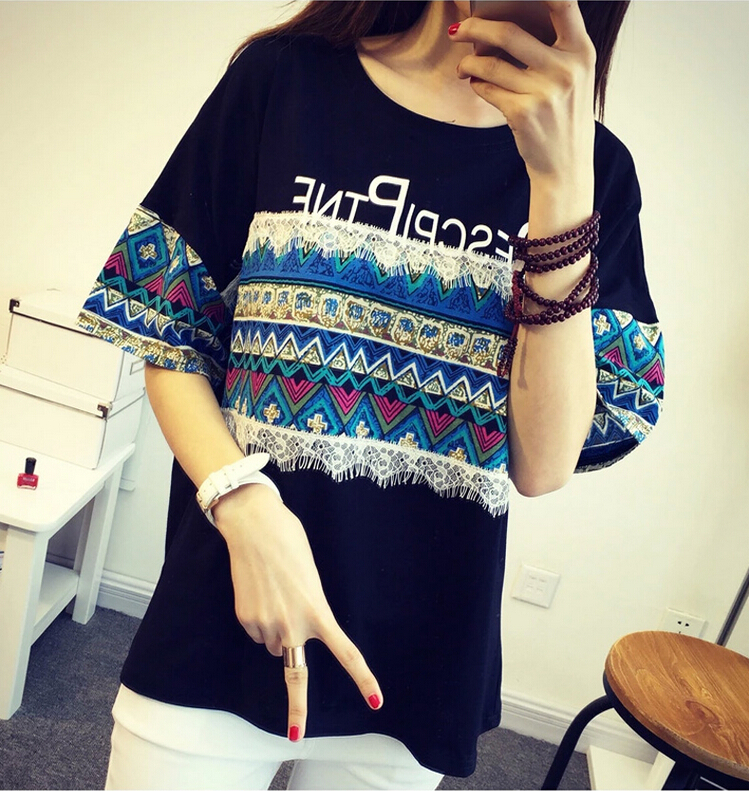 Zero 7s 2015 Summer New Style Loose Cotton T-shirt Women Fashion Mesh Splice Short Sleeve Tops&Tees! ! - store