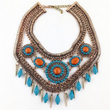 New Fashion Z design Big Retro Fashion Gold Choker Necklace National Wind Necklaces & Pendants For Statement Necklace Jewelry(China (Mainland))