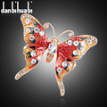 New Fashion enamel brooch pins crystal jewelry Red Butterfly animal brooches for women christmas gifts