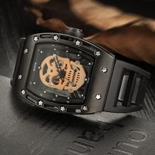 Buy Skone Hollow Silicone Watch Male Unique Design Skull Watches Men Luxury Brand Sports Quartz Wrist Watch relogio masculino for $21.50 in AliExpress store