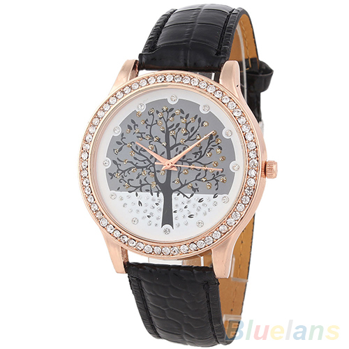 Women Tree Dial Rhinestone Inlaid Golden Tone Case Faux Leather Band Wrist Watch 4DCI