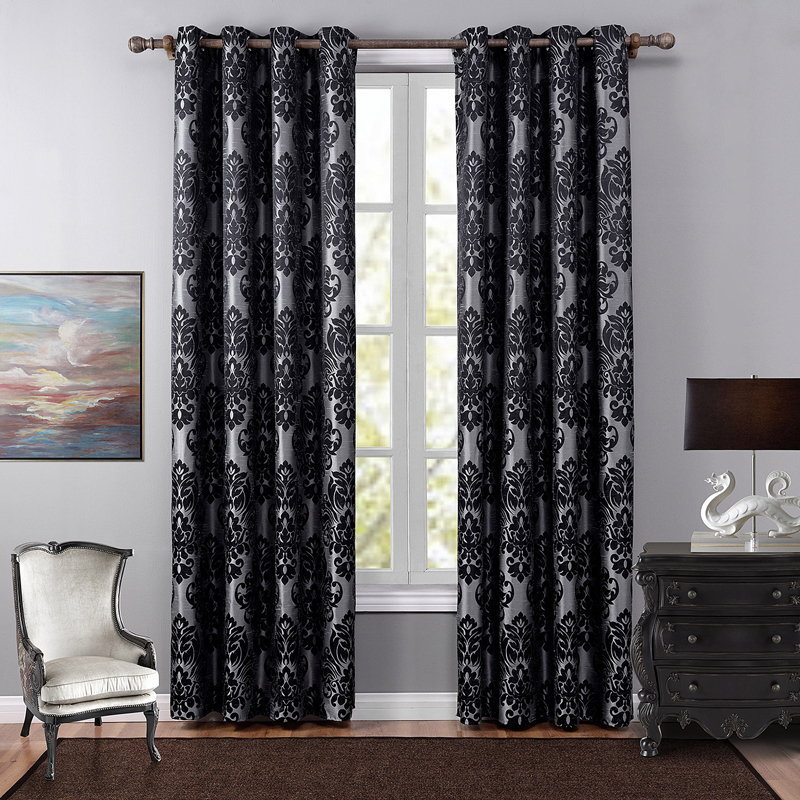 3 Colors Curtains For Living Room High Quality Blackout Curtain Floral Jacquard Curtain Free