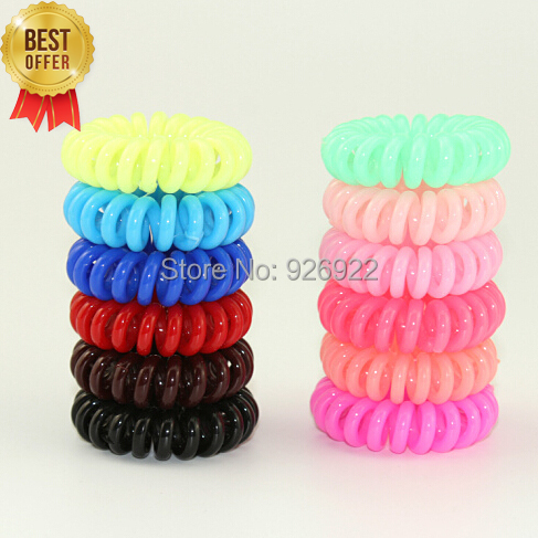 Telephone Wire Line Cord Invisi Bobble Traceless Hair Ring Gum Colored Elastic Hair Band For Girl Hair Scrunchy 10pcs/lot(China (Mainland))