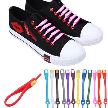 10pcs/lot Shoelaces Novelty No Tie Shoelaces Unisex Elastic Silicone Shoe Laces For Men Women All Sneakers Fit Strap 12 Colors