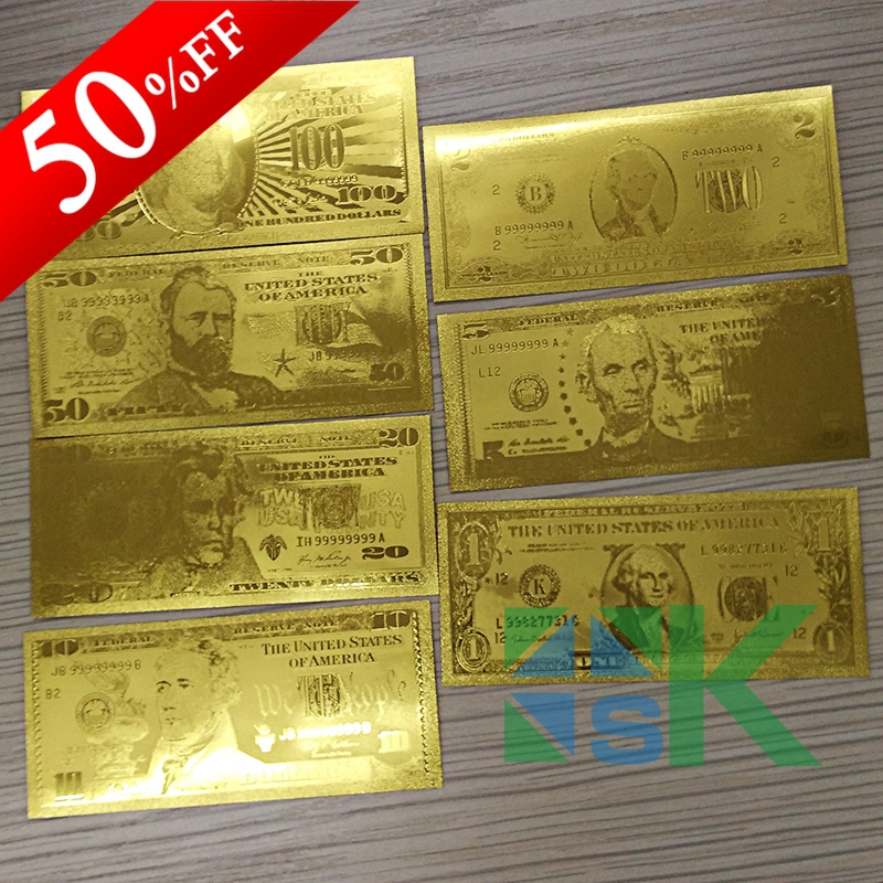 Free Shipping,7pcs/lot,Different Design USA Gold Banknote United Of America SET Gold Foil Banknote 1 2 5 10 20 50 100 Dollars