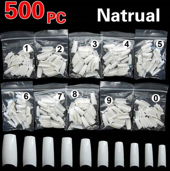 New Women 500PCS Natural French Style False Nail Art Tip Acrylic UV Gel DIY Decoration(China (Mainland))