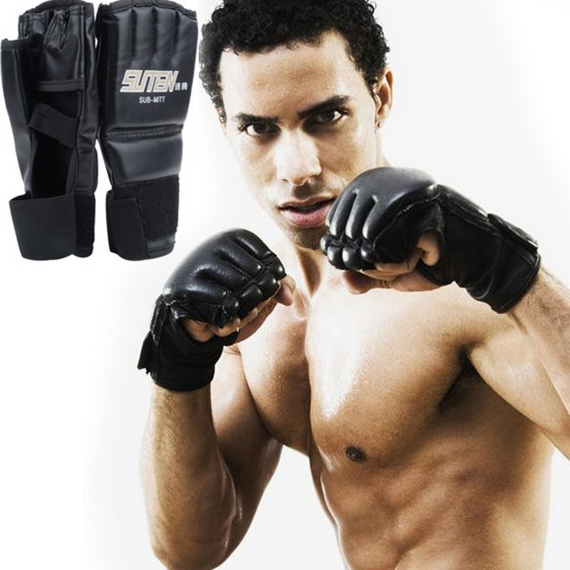 Гаджет  Promotion!!New extension wrist leather MMA Muay Thai Training Punching Bag Half Mitts Sparring Boxing Gloves Gym None Спорт и развлечения