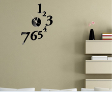 Vintage Figure Number Wall Clock Mirror Modern Design Removable DIY Acrylic 3D Mirror Wall Decal Wall Sticker Decoration(China (Mainland))