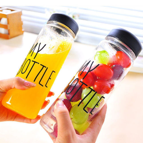 New Portable Cup Clear Bottle Sports Plastic Fruit Juice Water Cup Bottle With a Bag Portable 500ML Travel Bottle(China (Mainland))