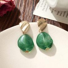 Bohemian Women's Earrings Summer Acetate Metal Bright Geometric Acrylic Retro Pendant Earrings Fashion Jewelry Gift 2019 New(China)