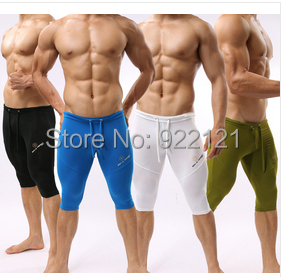 2014 Mens Middle Yoga Pants Fitness Sleepwear Soft Tight Swimwear for Man Cycle Long Pants for Man(China (Mainland))