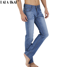 Summer Ultra Thin Jeans Men 100% Cotton Straight Pants Denim Fitness Trousers Mens Jeans Solid Jeans For Women And Men KMB0001-5(China (Mainland))