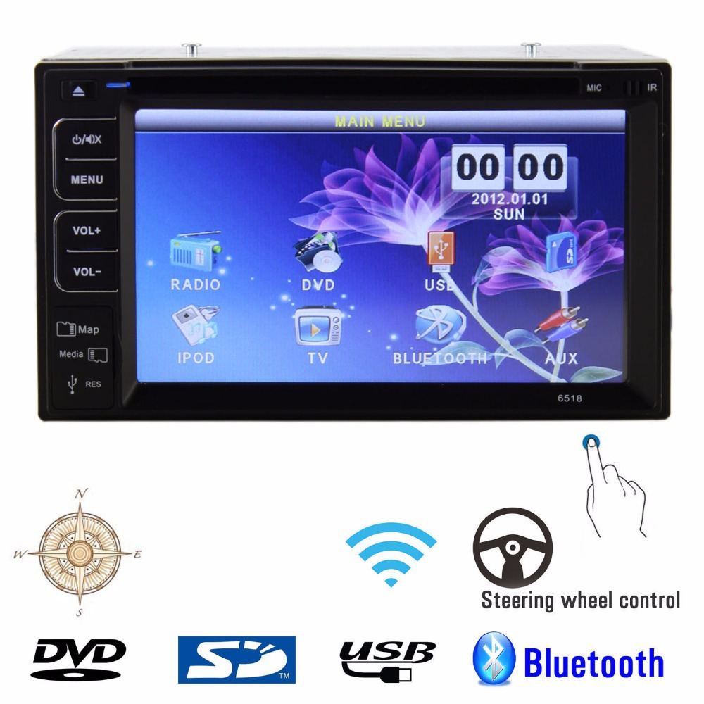 6.2'' HD Touch Screen Bluetooth No-GPS Car Stereo DVD CD MP3 Player Double 2 Din In dash Car Radio Audio Video Player+USB SD AUX(China (Mainland))
