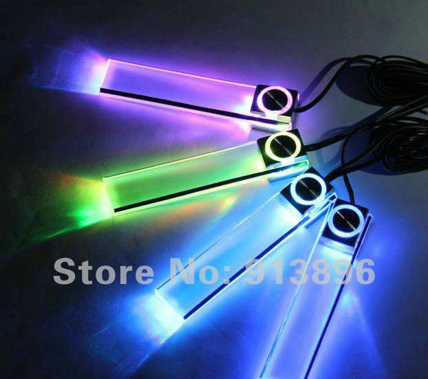4 LED Car Charge light Interior Glow Decorative floor lights, Blue / seven colors 4in1 atmosphere auto lamp - OneParts store