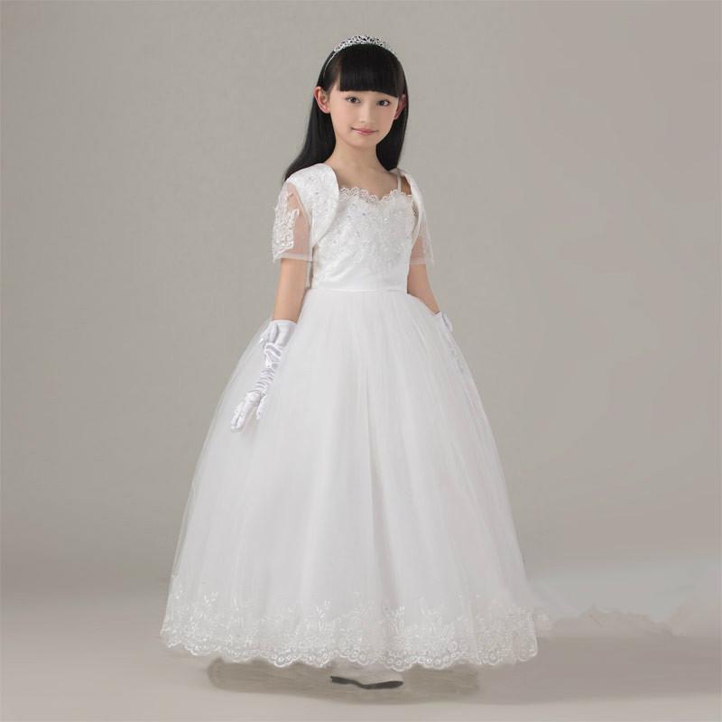 acheter robe de bal fleur filles robe avec veste appliques tulle long enfants. Black Bedroom Furniture Sets. Home Design Ideas