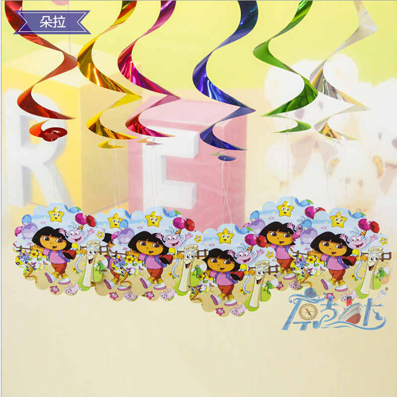 6pcs/pack Dora Hanging Accessories Wedding Ornament Luau Party Supplies And kids birthday party Decorations(China (Mainland))