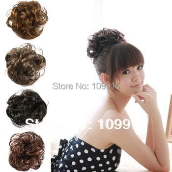 8pcs/lot* 4 Colors Hair Extension Pony Tail Bride Bun Hairpiece Fake Hair Scrunchie Wavy
