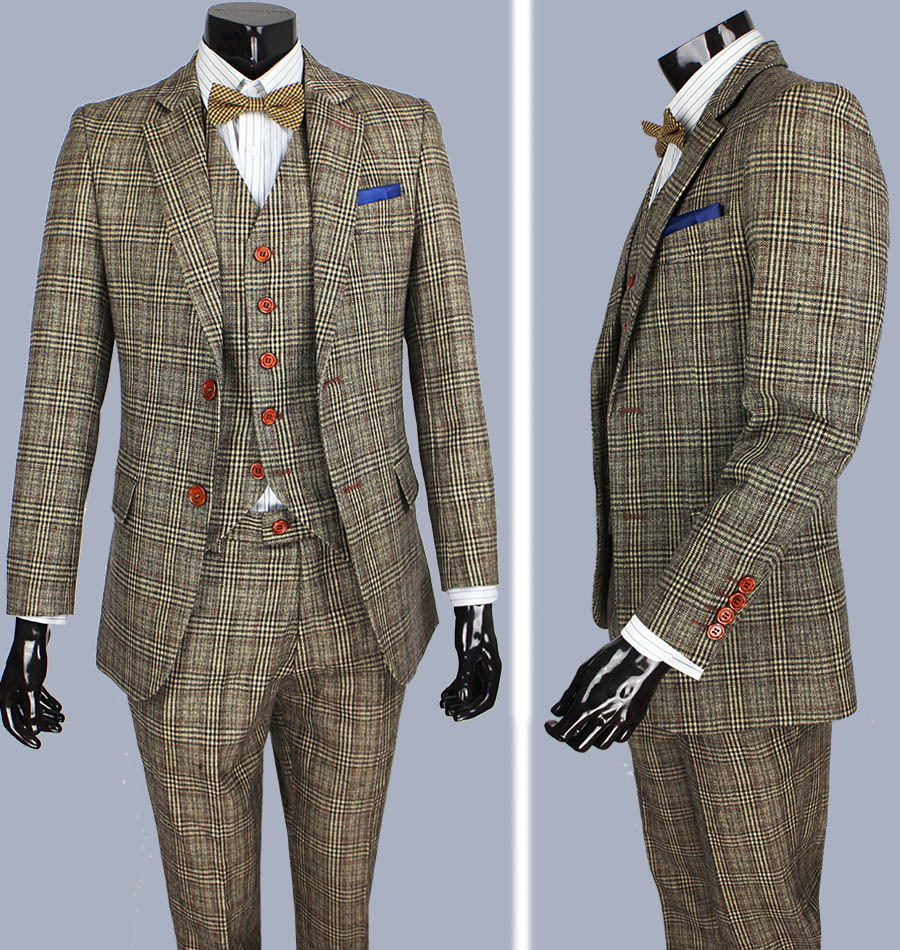 retro Brown plaid groom tuxedos custom made slim fit Wedding Suits for men Blazers tailor made suits 3 piece(China (Mainland))