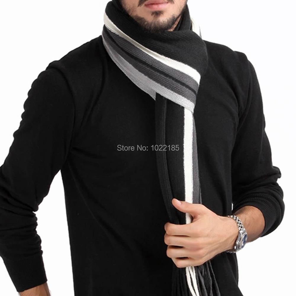 Men Classic Cashmere Scarf Winter Warm Soft Fringe Striped Tassel Shawl Wrap Brand New Hot Sale(China (Mainland))